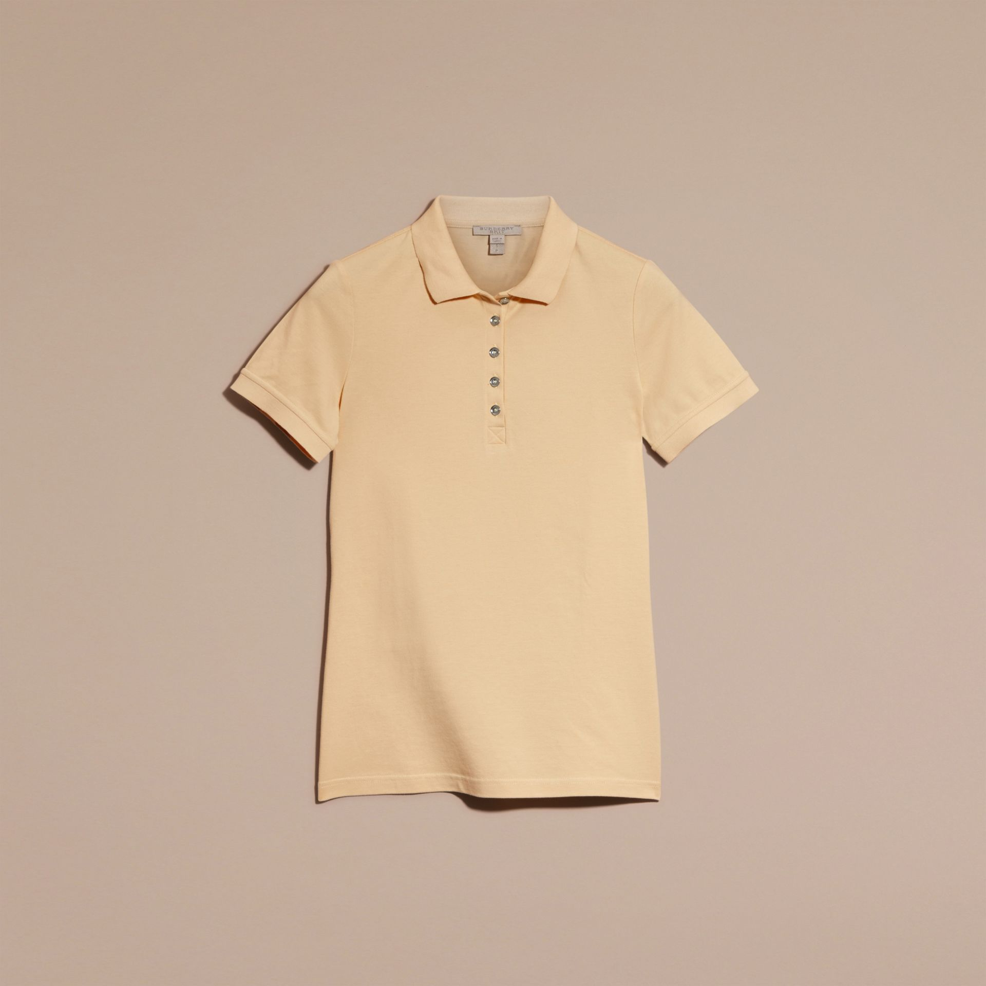Pale lemon Check Trim Stretch Cotton Piqué Polo Shirt Pale Lemon - gallery image 4
