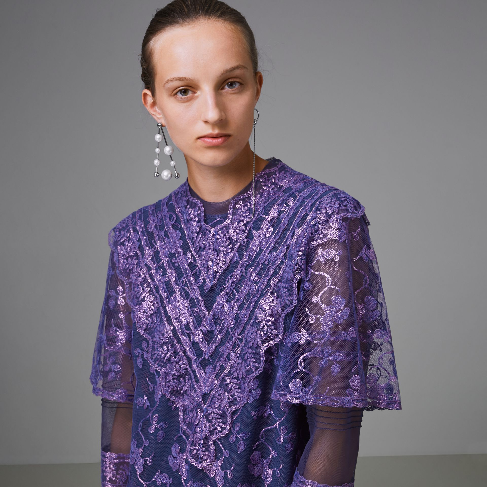 Laminated Lace Cape Sleeve Dress in Bright Purple - Women | Burberry Canada - gallery image 1