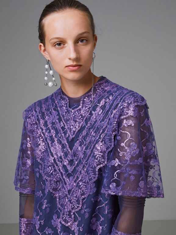 Laminated Lace Cape Sleeve Dress in Bright Purple - Women | Burberry - cell image 1