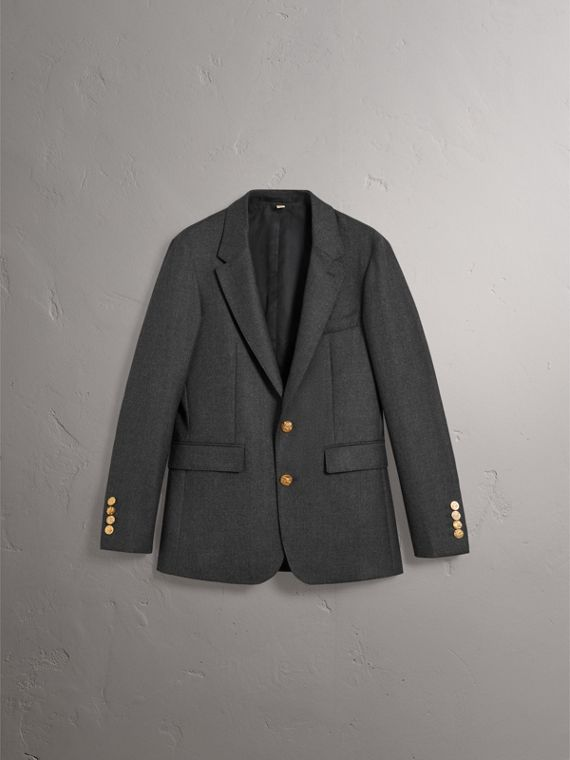 Bird Button Wool Tailored Jacket in Dark Grey Melange - Men | Burberry Singapore - cell image 3
