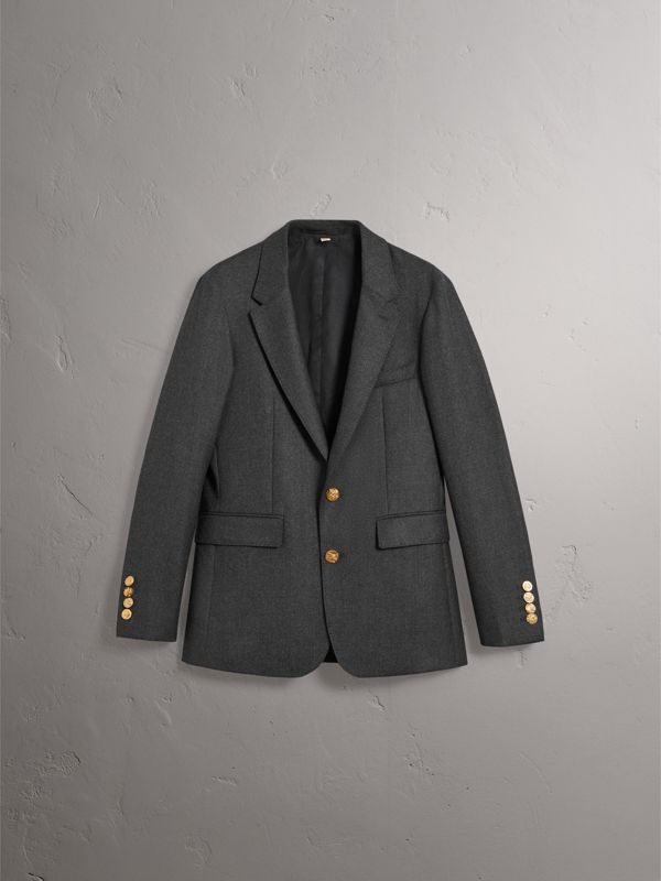 Bird Button Wool Tailored Jacket in Dark Grey Melange - Men | Burberry - cell image 3