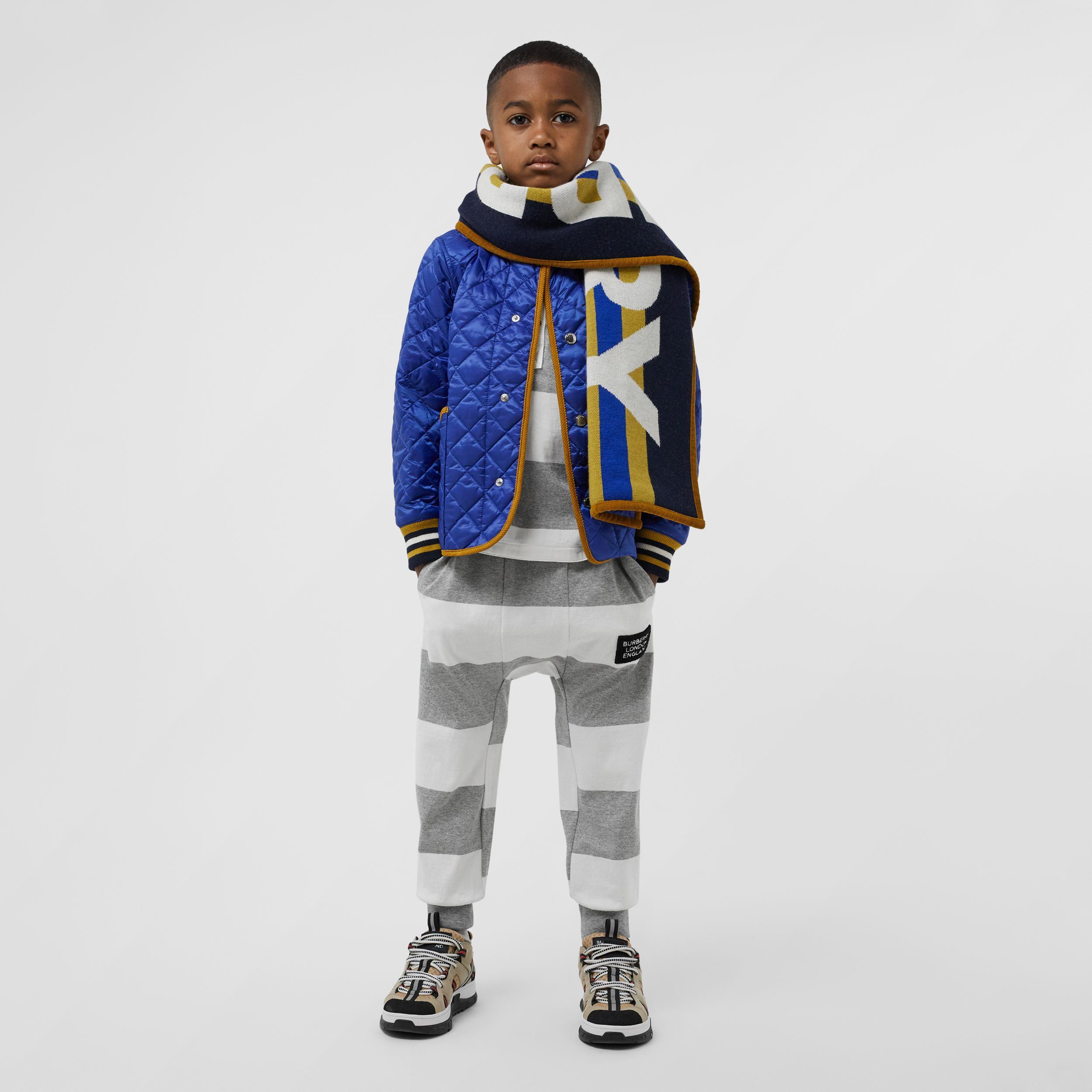 Corduroy Trim Lightweight Diamond Quilted Jacket in Dark Cobalt Blue - Children | Burberry - 3