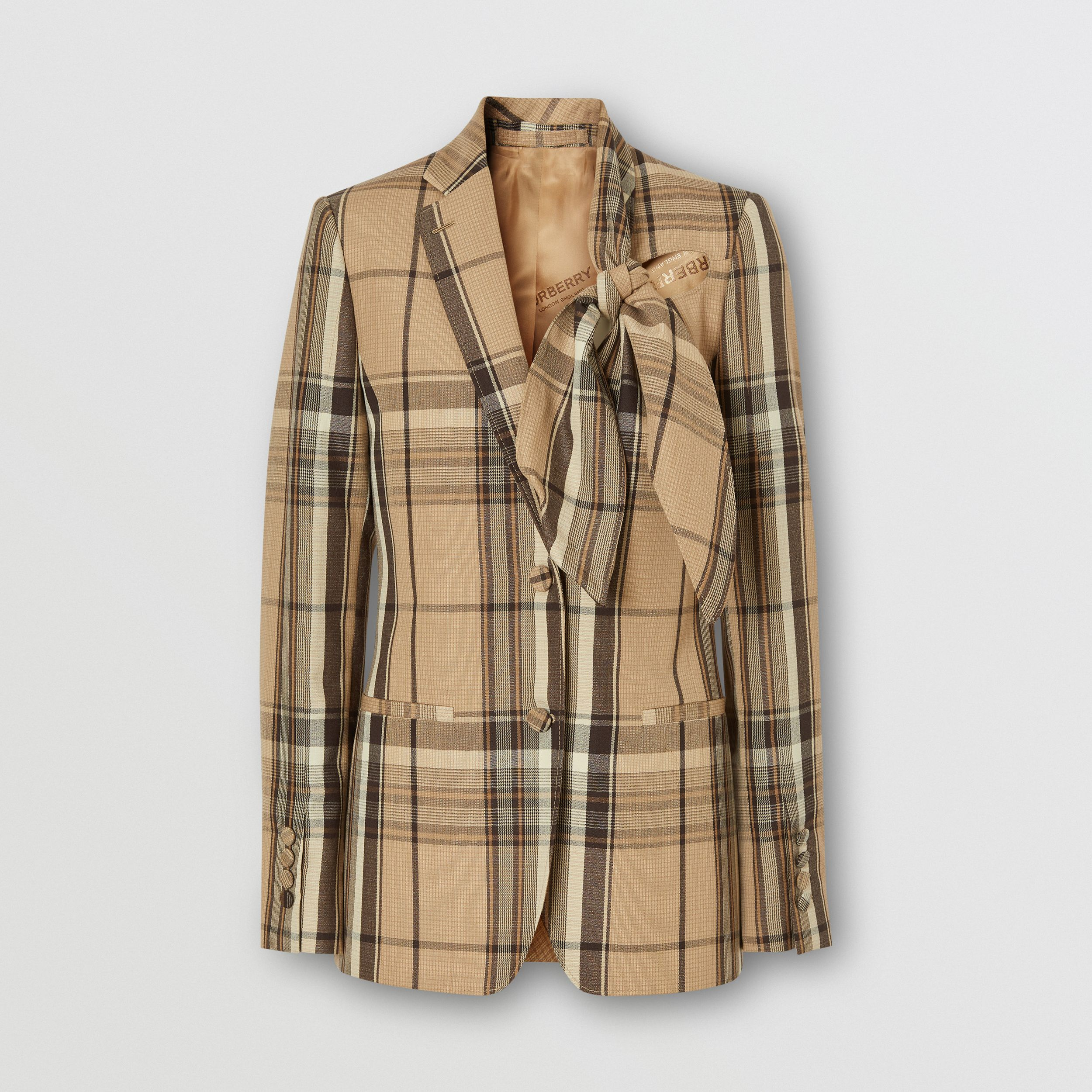 Knot Detail Check Wool Tailored Jacket - Women | Burberry - 4