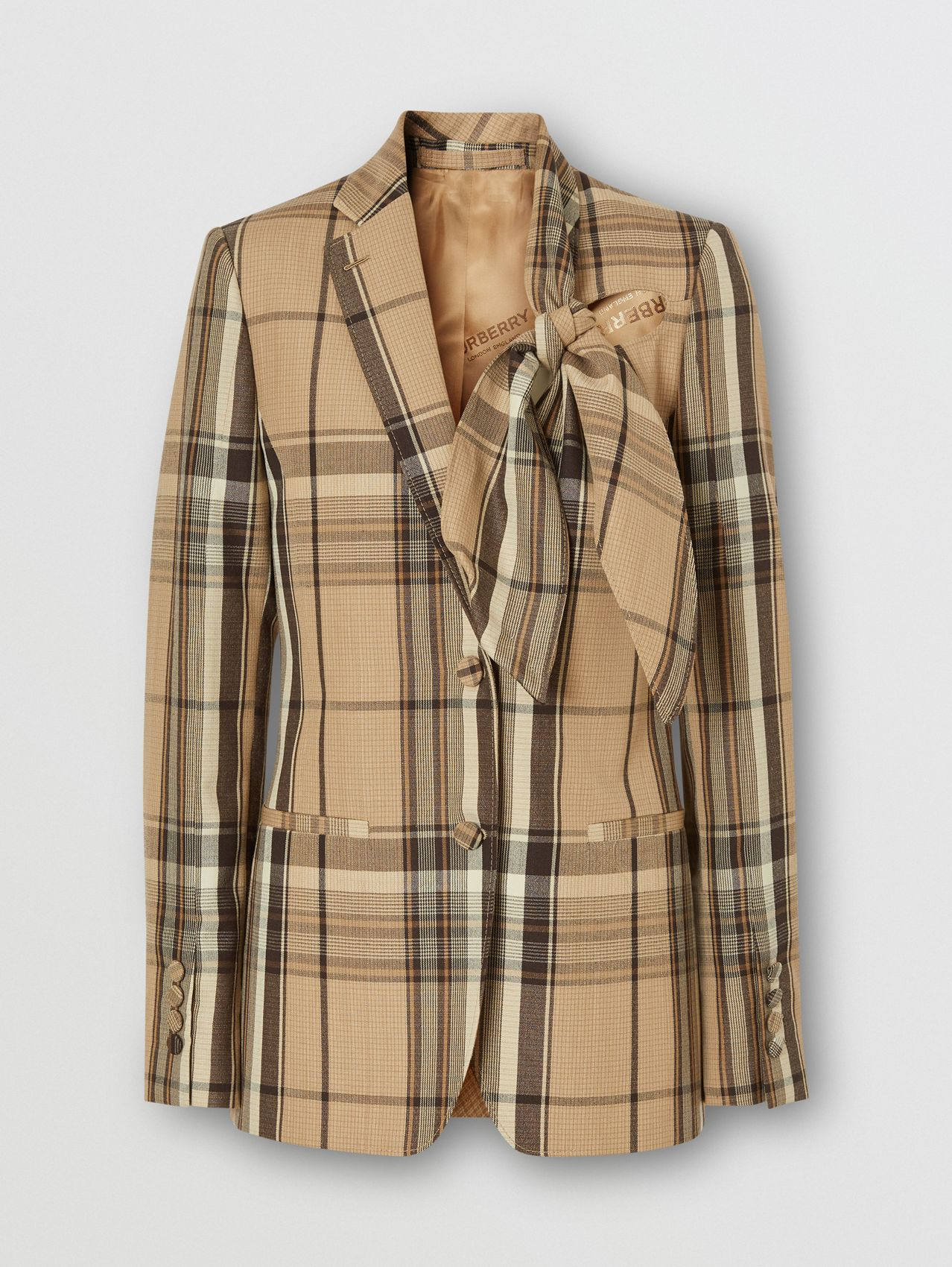 Knot Detail Check Wool Tailored Jacket