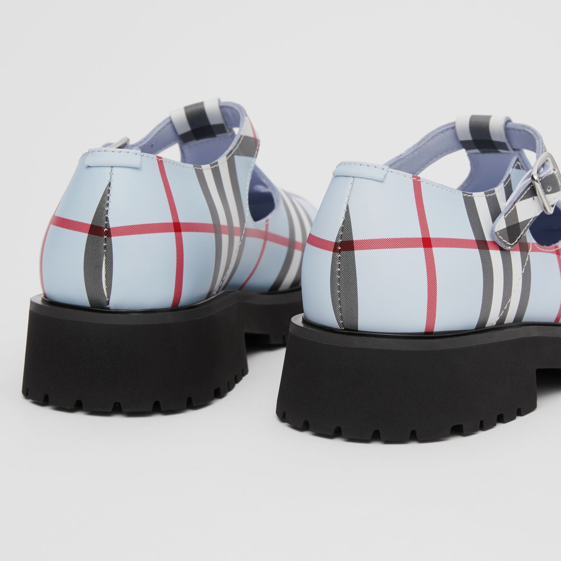 Vintage Check Leather T-bar Shoes in Pale Blue - Children | Burberry - gallery image 1