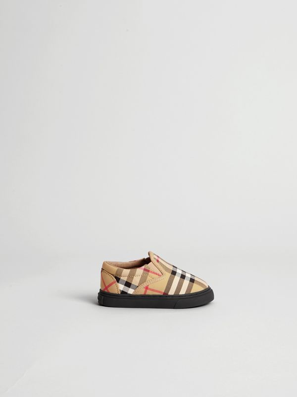 Vintage Check and Leather Slip-on Sneakers in Antique Yellow/black - Children | Burberry Canada - cell image 3