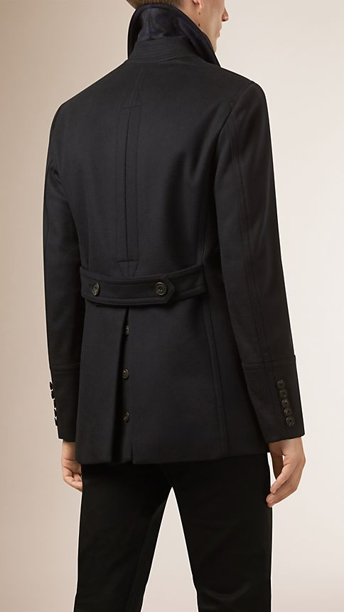 Navy Virgin Wool Cashmere Pea Coat - Image 3