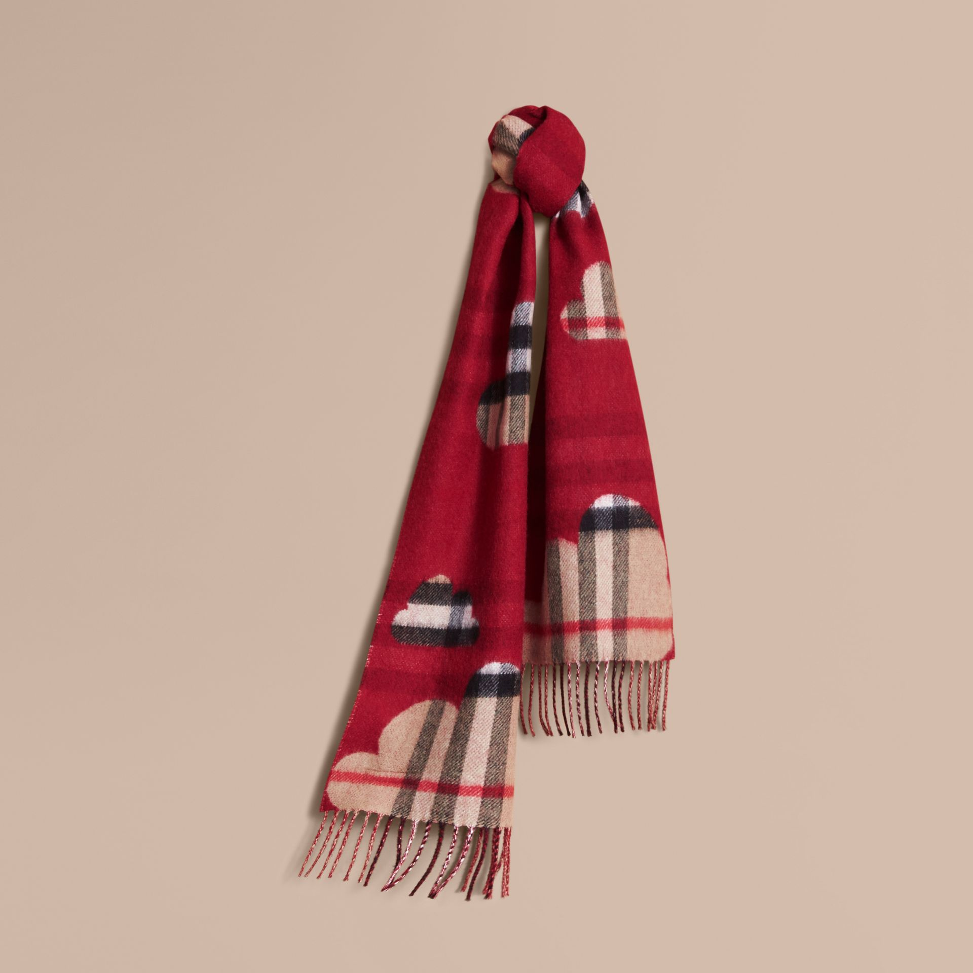 Reversible Weather Pattern Check Cashmere Mini Scarf in Parade Red | Burberry - gallery image 1