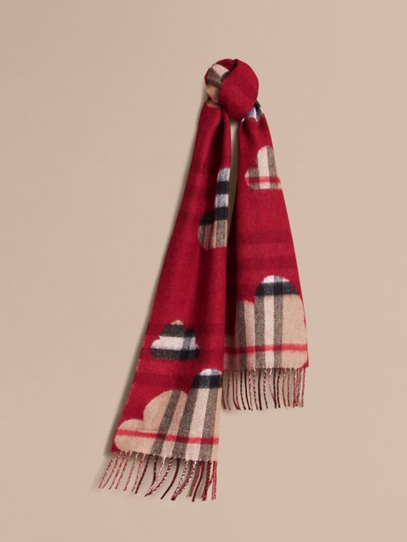 Reversible Weather Pattern Check Cashmere Mini Scarf in Parade Red