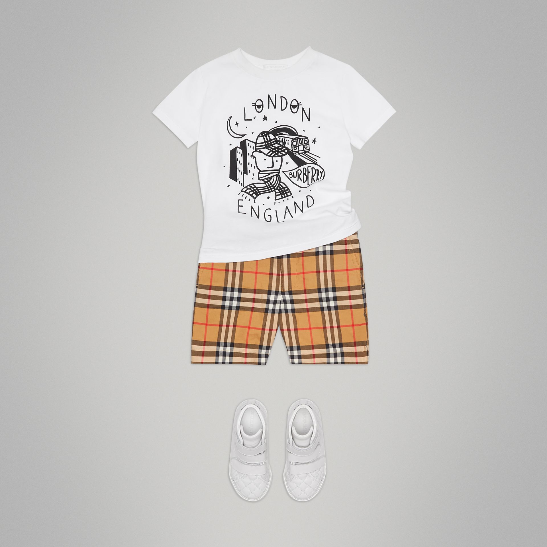 Night Print Cotton T-shirt in White - Boy | Burberry - gallery image 2
