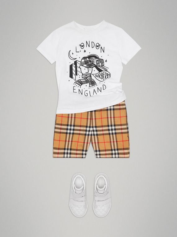 Night Print Cotton T-shirt in White - Boy | Burberry United States - cell image 2