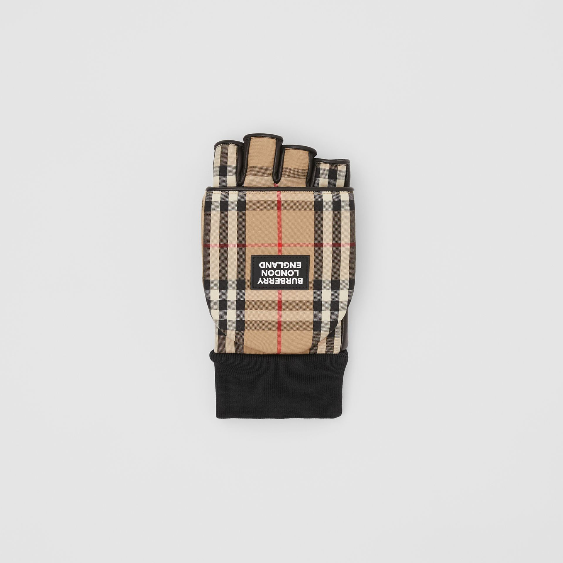 Logo Appliqué Lambskin and Vintage Check Mittens in Archive Beige | Burberry - gallery image 2