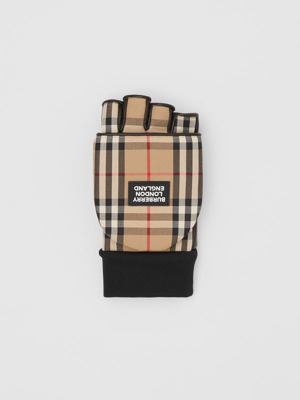 Logo Appliqué Lambskin and Vintage Check Mittens in Archive Beige | Burberry Hong Kong S.A.R - cell image 2