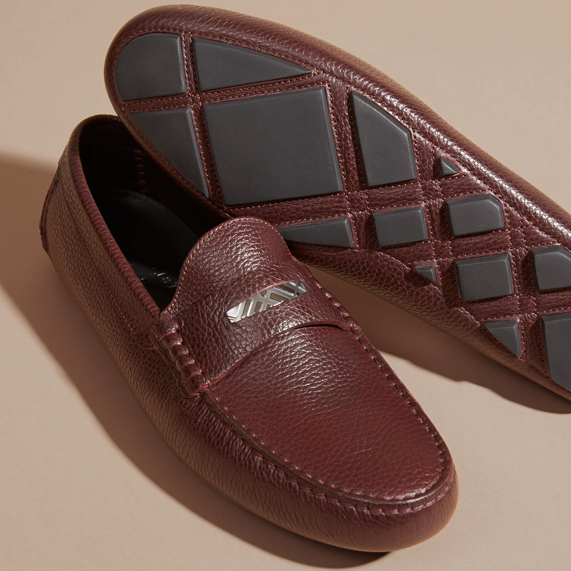 Bordeaux Grainy Leather Loafers with Engraved Check Detail Bordeaux - gallery image 5