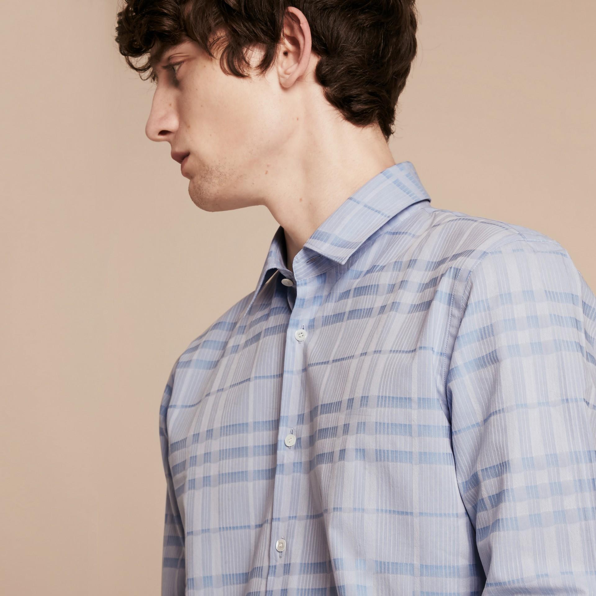 Bleu dragée Chemise en coton tissé en jacquard à motif check Bleu Dragée - photo de la galerie 5