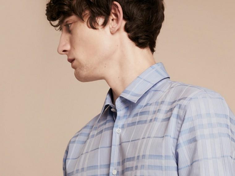 Bleu dragée Chemise en coton tissé en jacquard à motif check Bleu Dragée - cell image 4