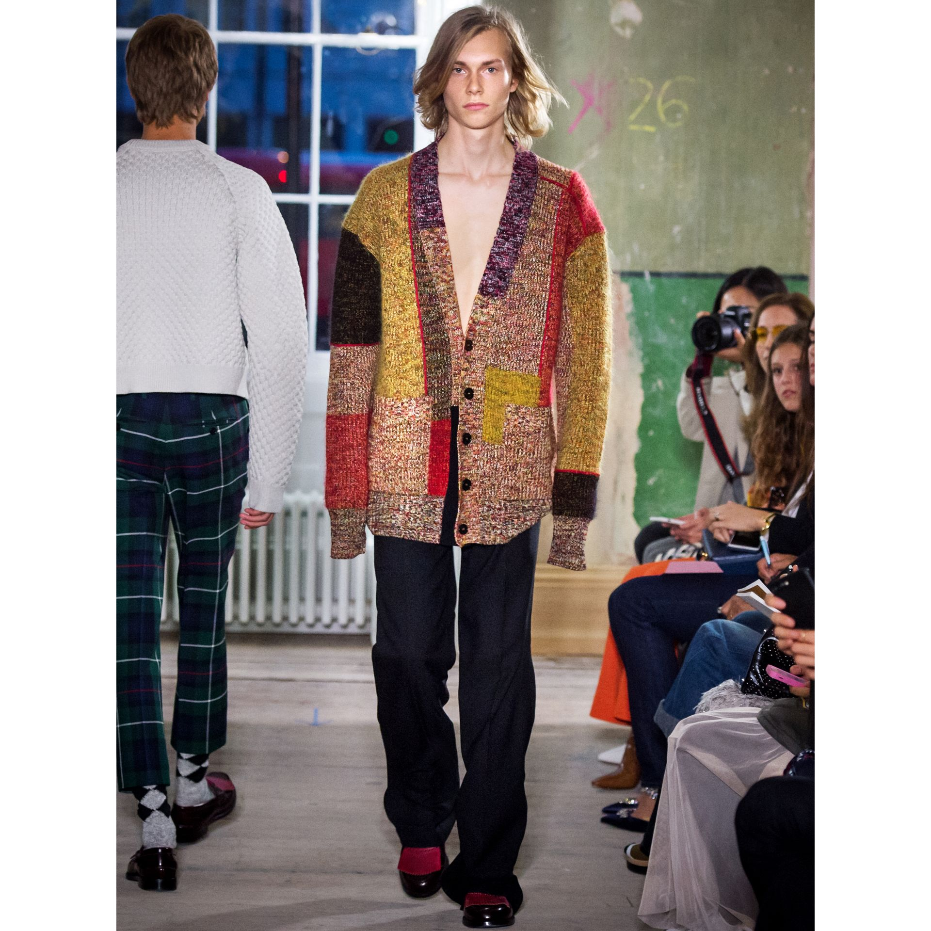 Wool Linen Mohair Blend Mouliné Oversized Cardigan in Multicolour - Men | Burberry - gallery image 6