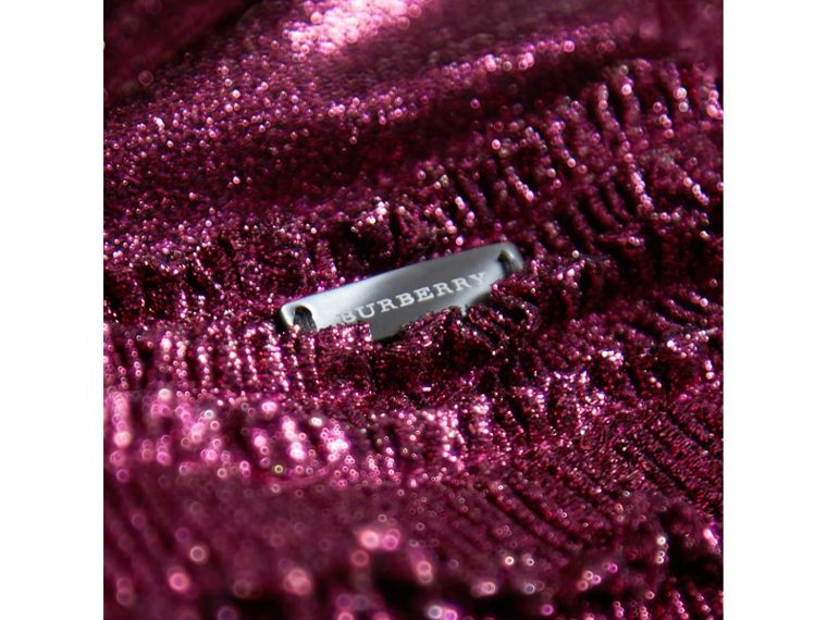 Frill Detail Lamé Dress in Bright Fuchsia - Girl | Burberry United States - cell image 1