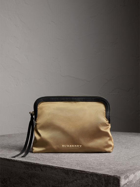 Large Zip-top Leather-trimmed Technical Nylon Pouch in Gold/black