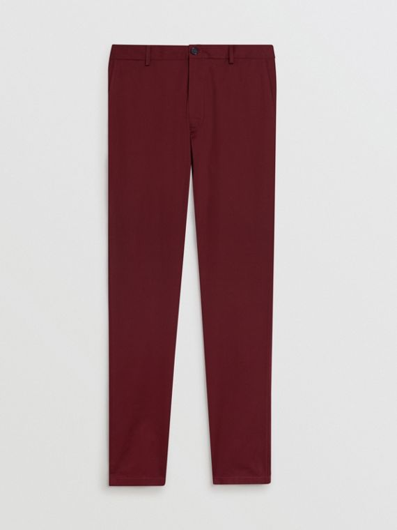 Pantalon chino slim en coton (Cramoisi Sombre)