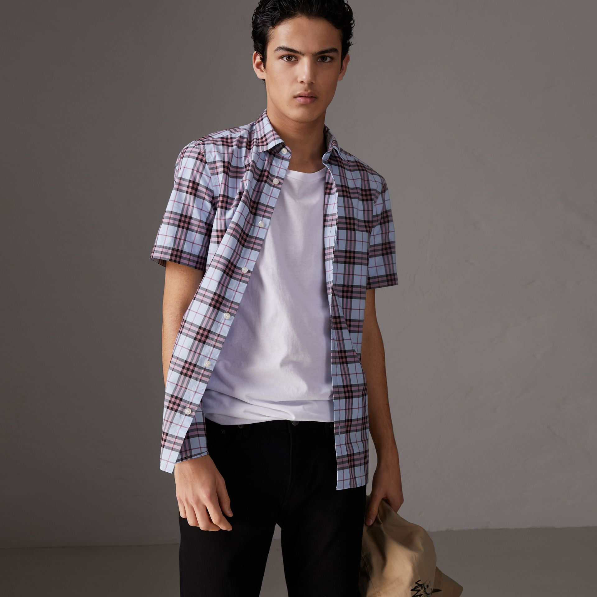 Short-sleeve Check Cotton Shirt in Lavender Blue - Men | Burberry Canada - gallery image 0