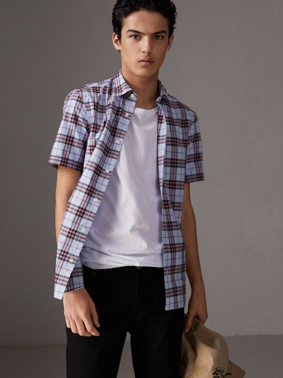 Short-sleeve Check Cotton Shirt in Lavender Blue