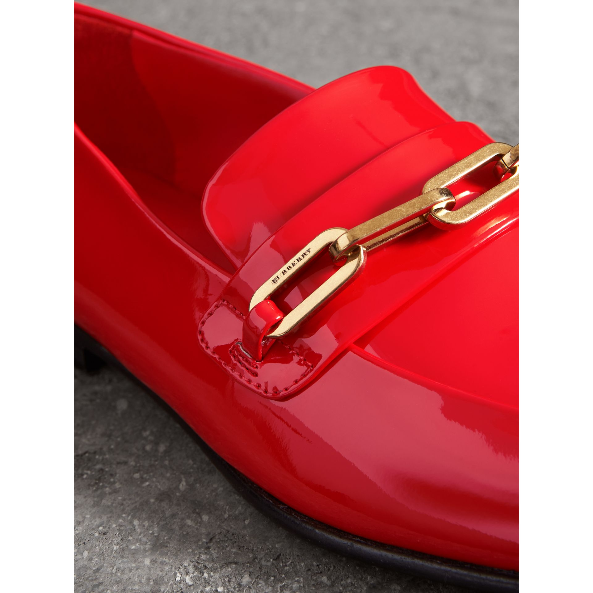 Link Detail Patent Leather Loafers in Bright Red - Women | Burberry - gallery image 1