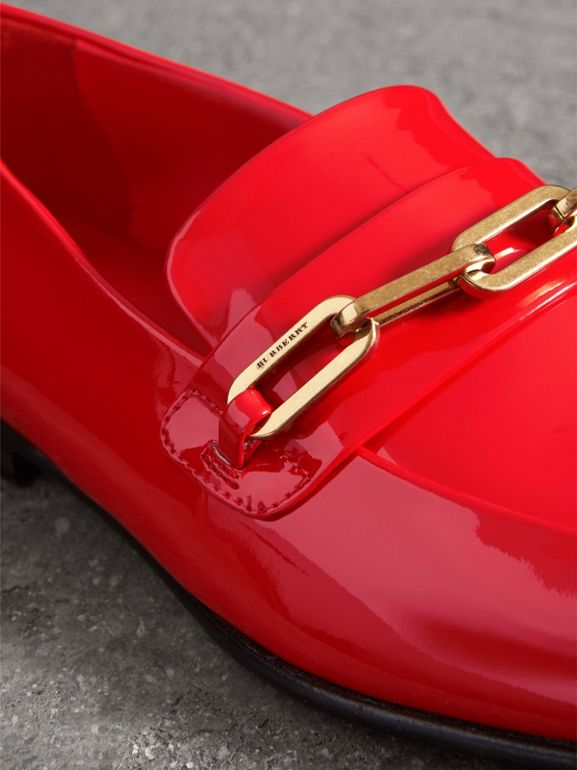 Link Detail Patent Leather Loafers in Bright Red - Women | Burberry - cell image 1
