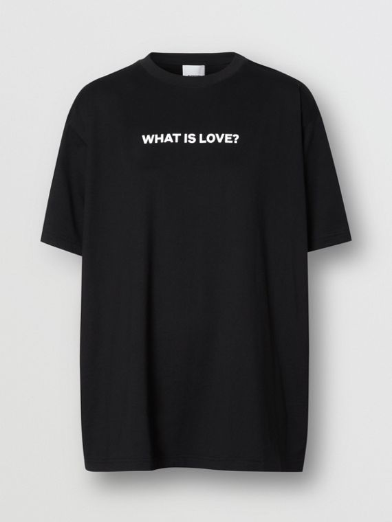 Love Slogan Cotton Oversized T-shirt in Black