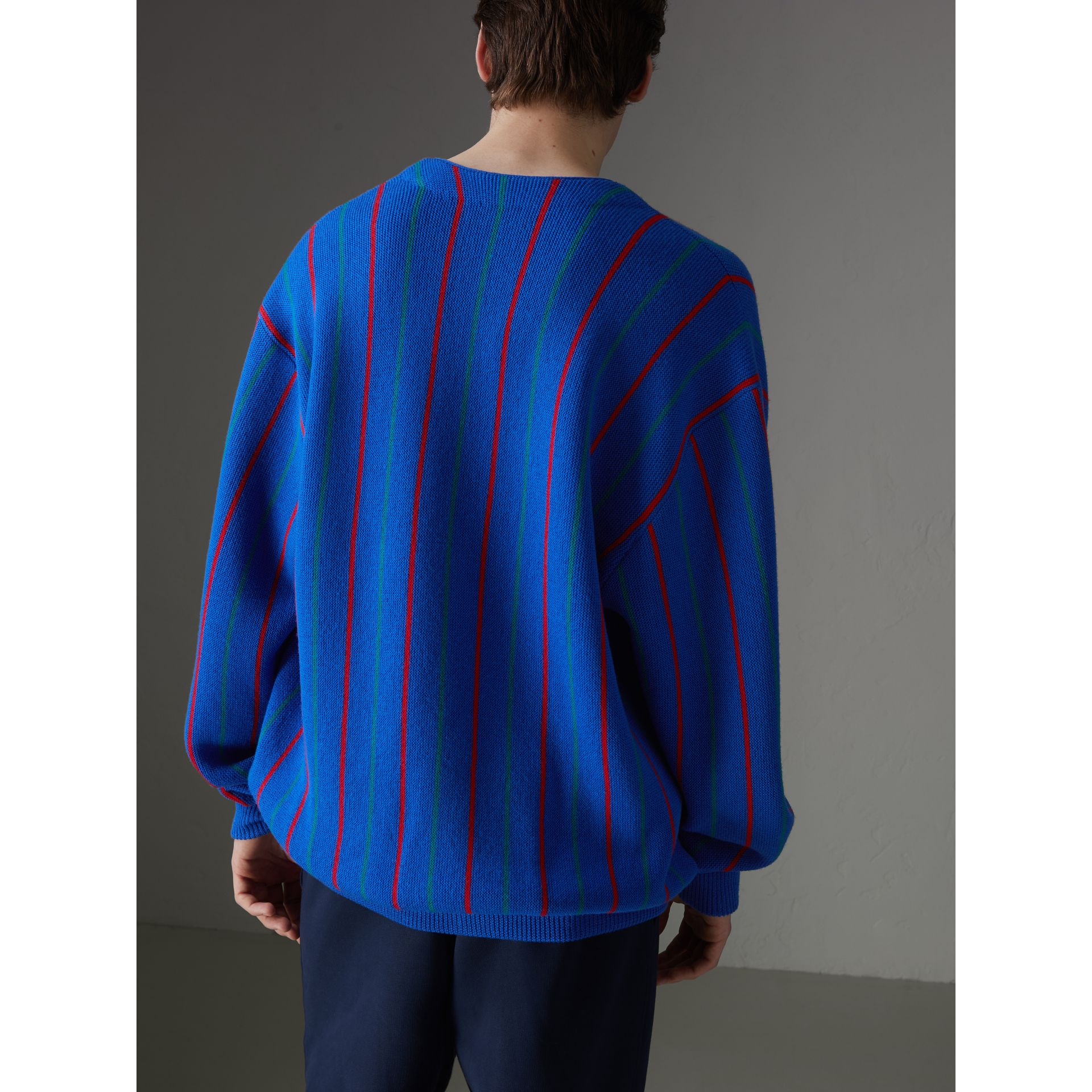 Reissued Striped Wool Cardigan in Royal Blue - Men | Burberry United States - gallery image 2