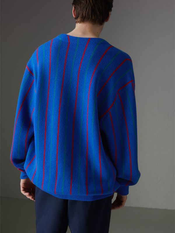 Reissued Striped Wool Cardigan in Royal Blue - Men | Burberry United States - cell image 2