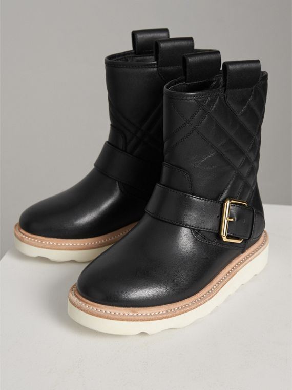 Quilted Leather Weather Boots in Black | Burberry Singapore - cell image 3