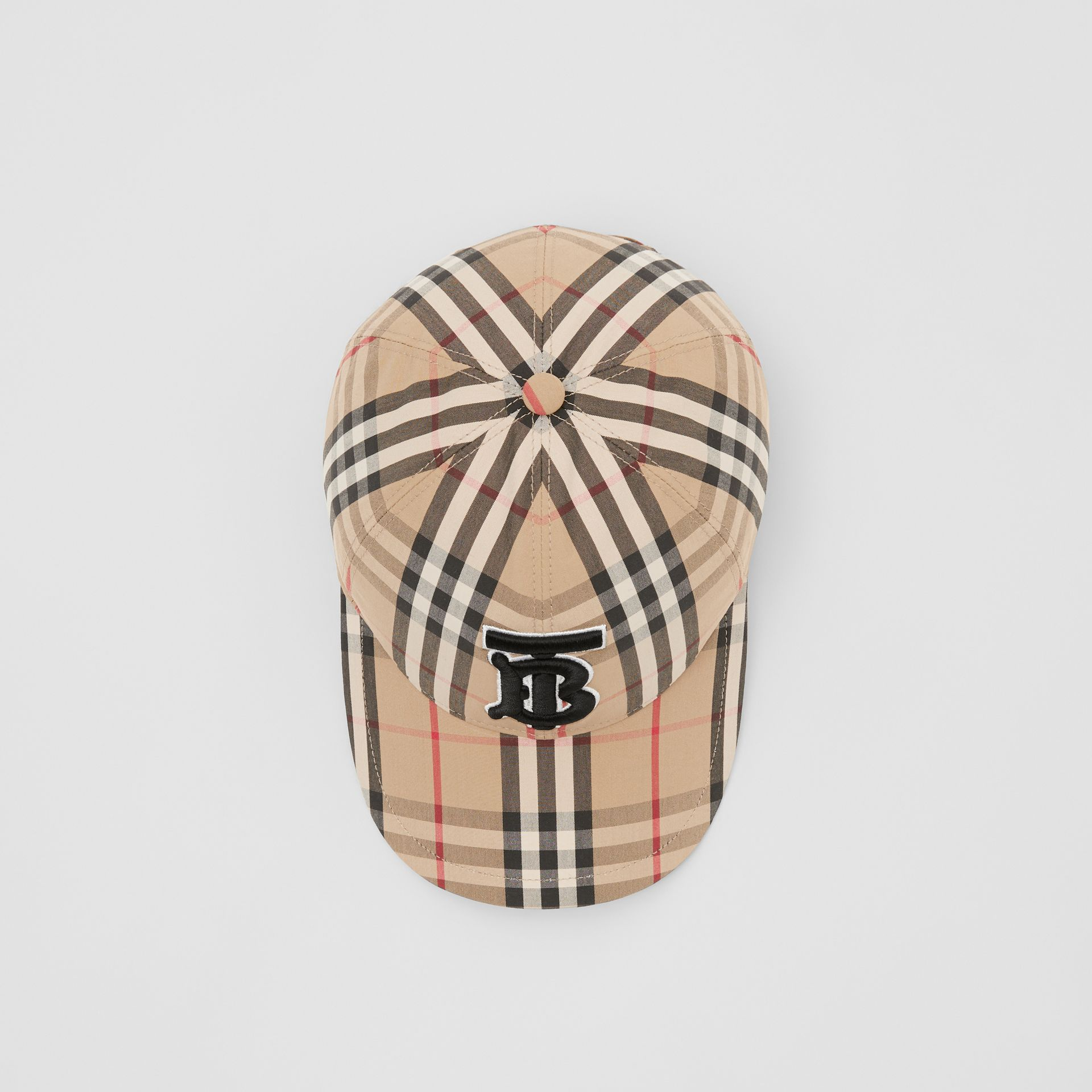 Monogram Motif Vintage Check Baseball Cap in Archive Beige | Burberry - gallery image 0