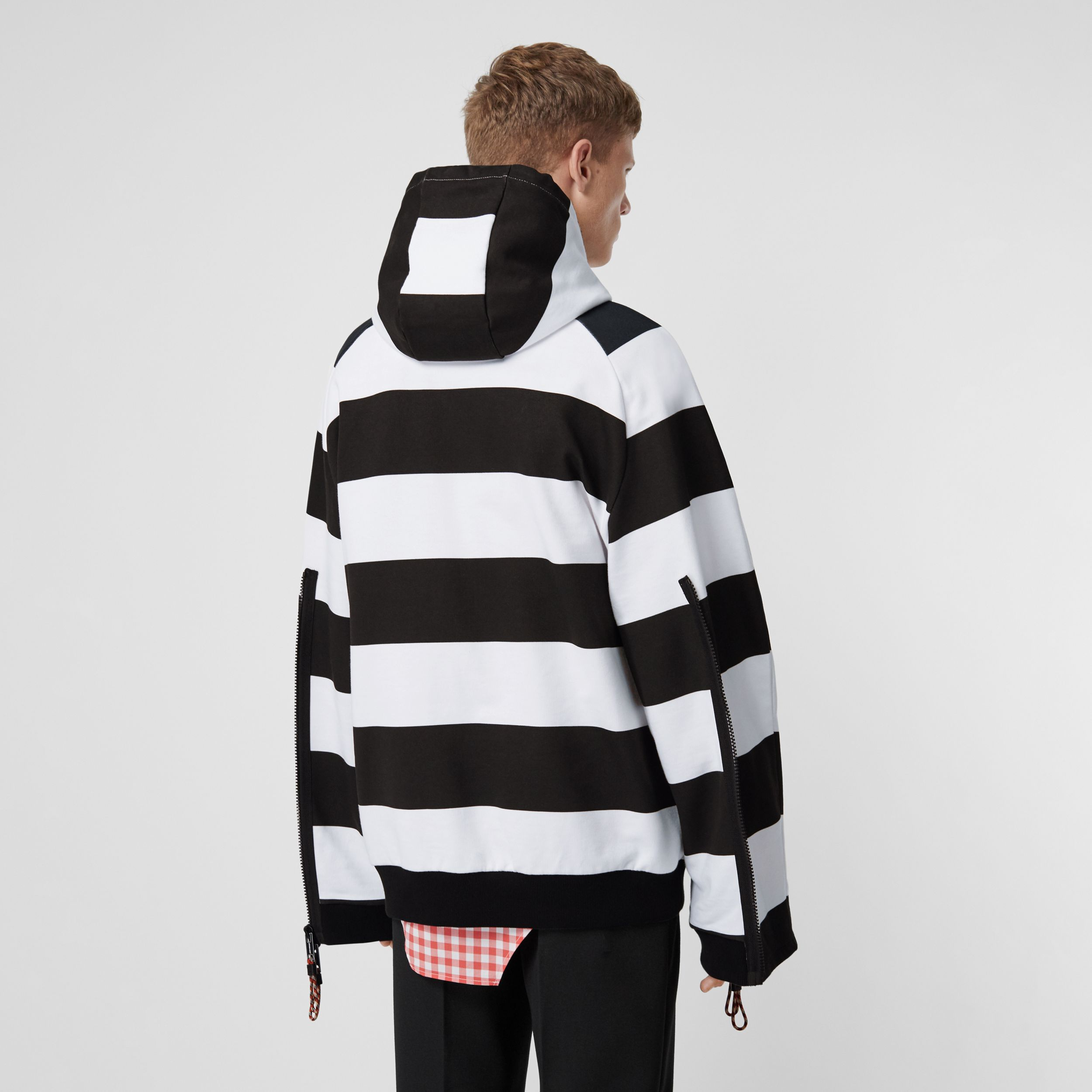 Zip Detail Logo Print Striped Cotton Hoodie in Black/white - Men | Burberry - 3