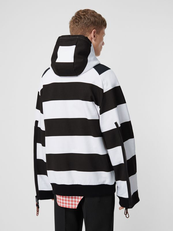 Zip Detail Logo Print Striped Cotton Hoodie in Black/white | Burberry - cell image 2