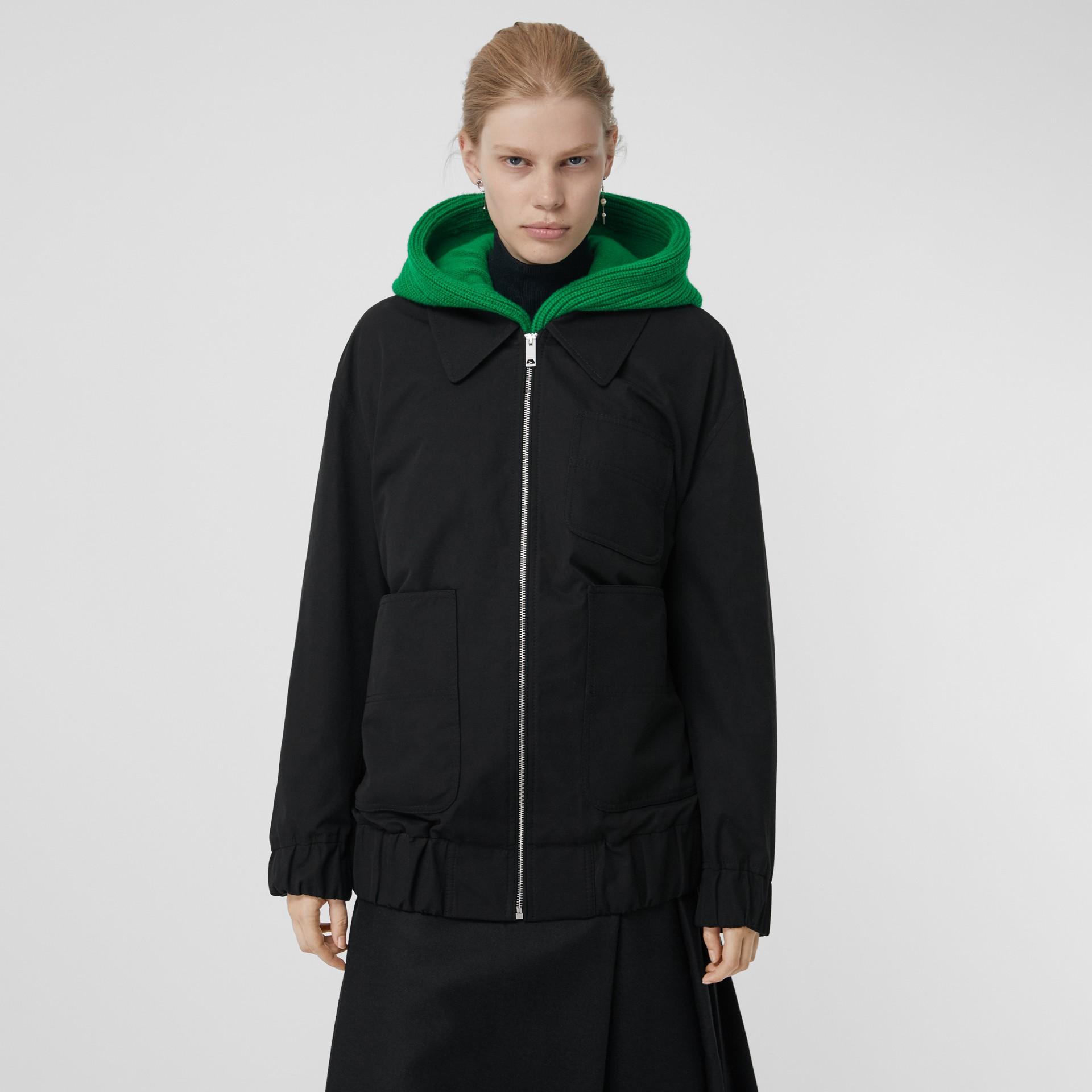 Tropical Gabardine Harrington Jacket in Black - Women | Burberry United Kingdom - gallery image 5