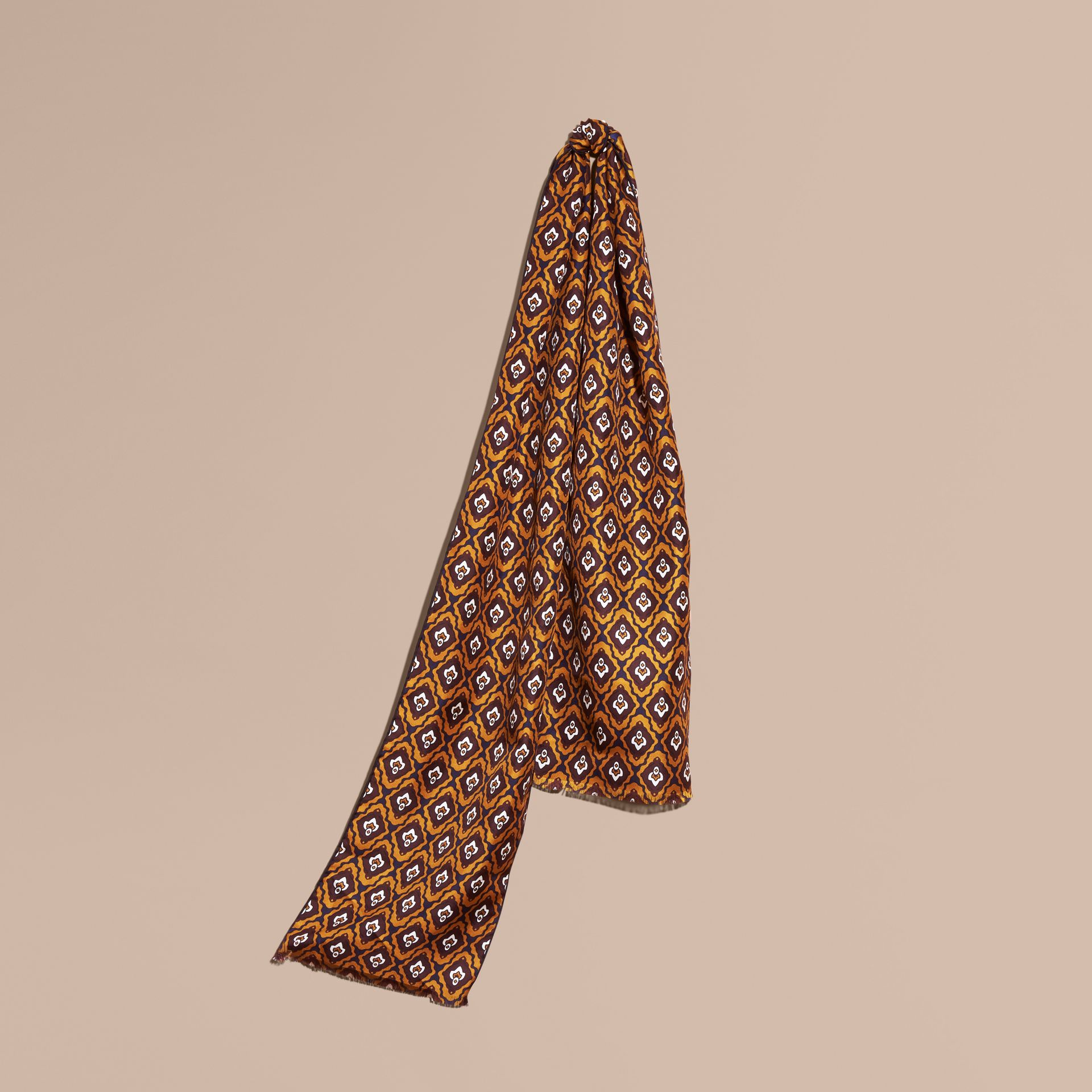 Umber yellow Tie-inspired Print Silk Scarf - gallery image 1