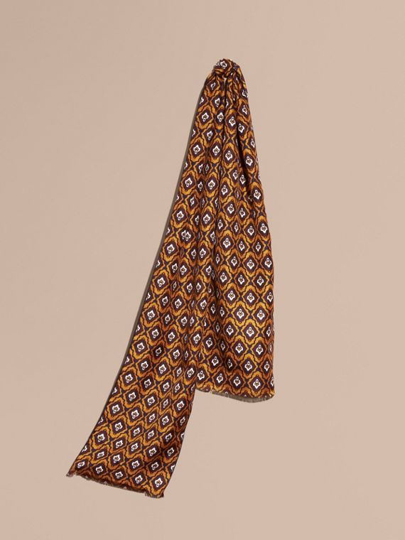 Tie-inspired Print Silk Scarf