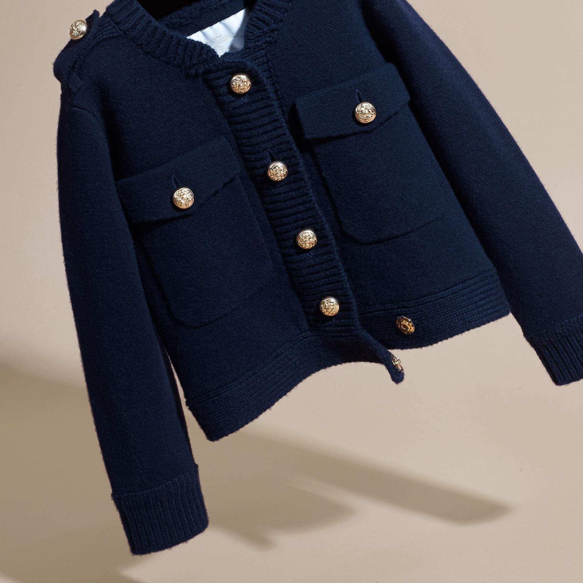 Navy Wool Cashmere Military Knitted Jacket - gallery image 3