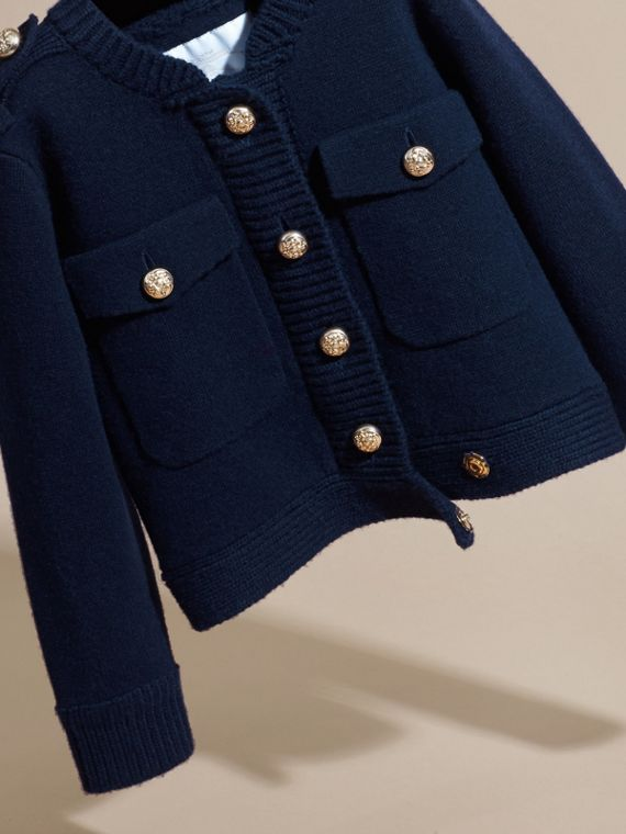 Navy Wool Cashmere Military Knitted Jacket - cell image 2