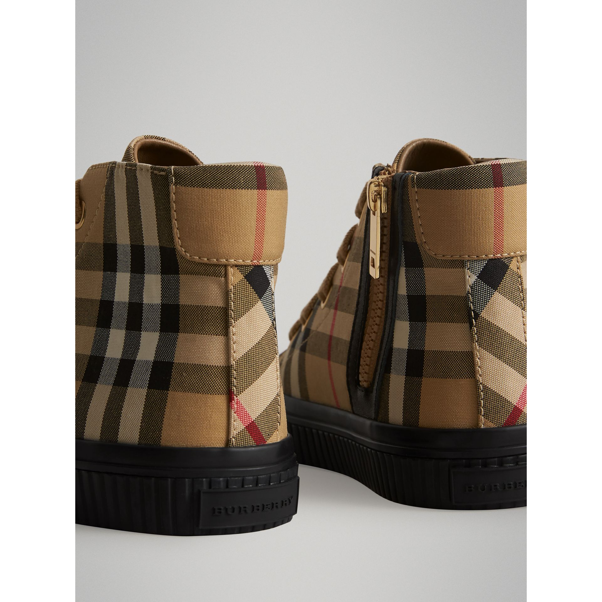 Vintage Check and Leather High-top Sneakers in Antique Yellow/black | Burberry Singapore - gallery image 2