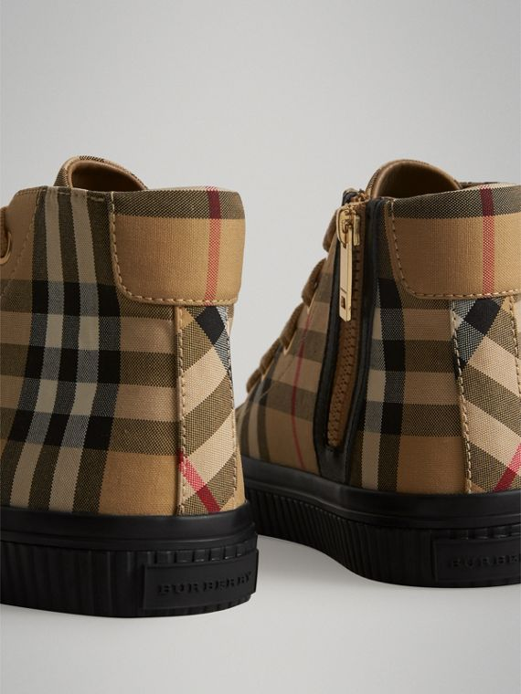 Vintage Check and Leather High-top Sneakers in Antique Yellow/black | Burberry Canada - cell image 2