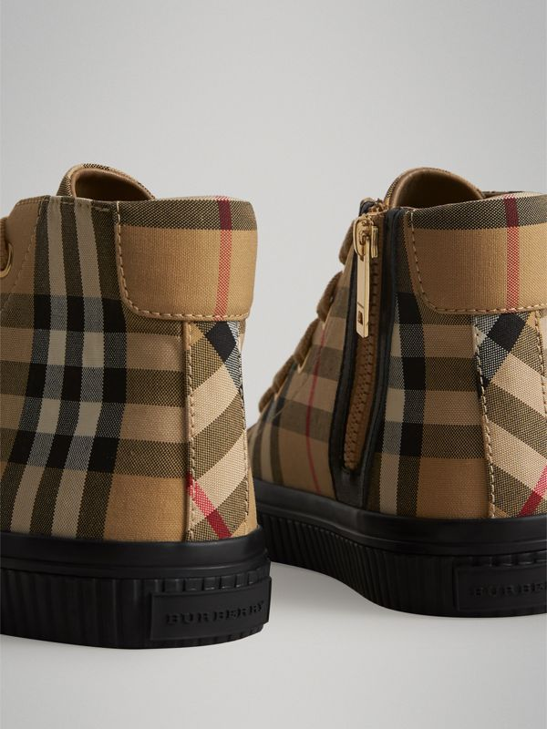 Vintage Check and Leather High-top Sneakers in Antique Yellow/black | Burberry Singapore - cell image 2