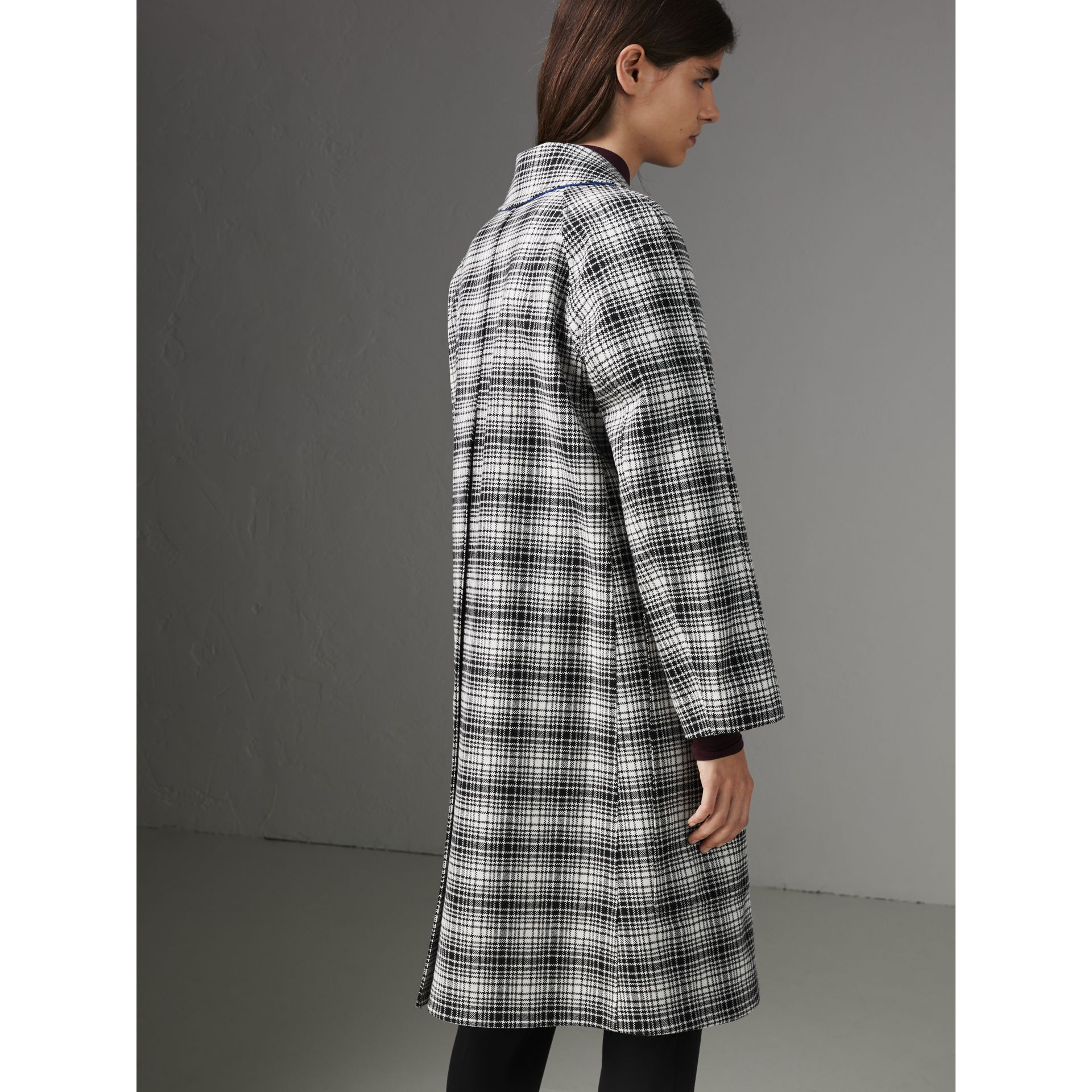 Check Wool Tailored Coat in Black/white - Women | Burberry - gallery image 2