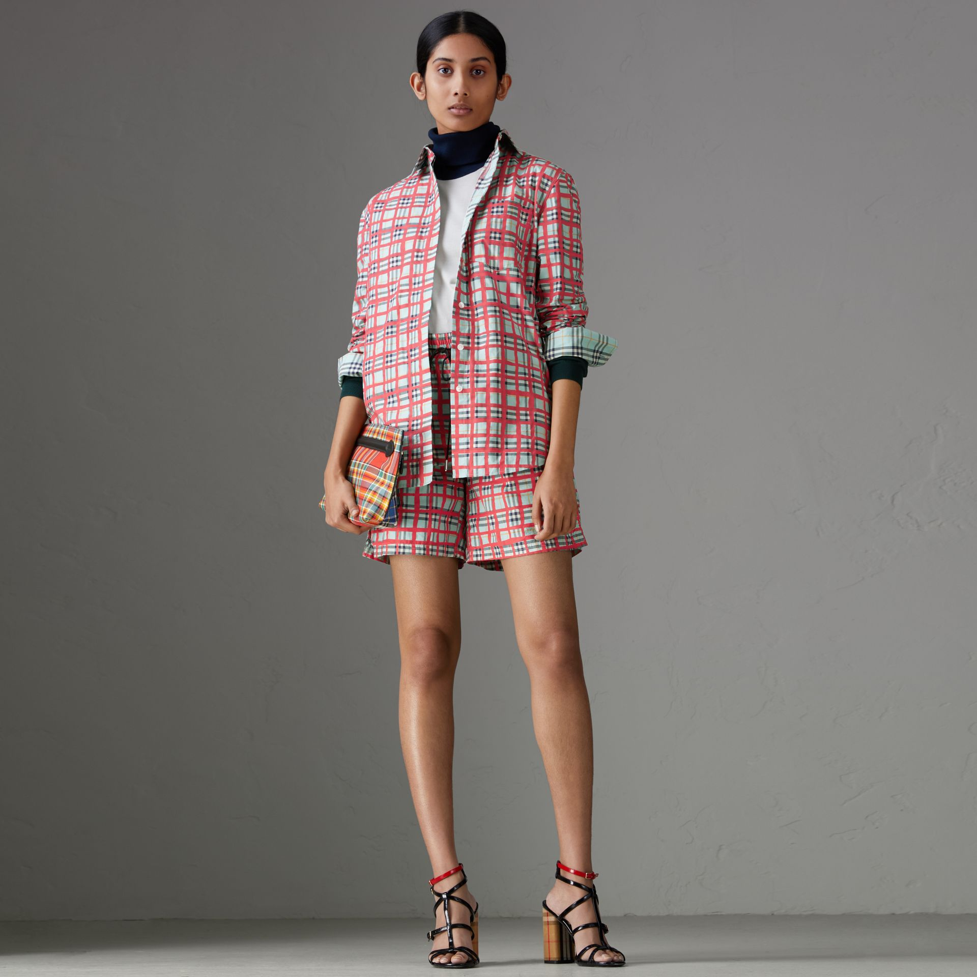 Painted Check Cotton Shirt in Bright Aqua - Women | Burberry - gallery image 0