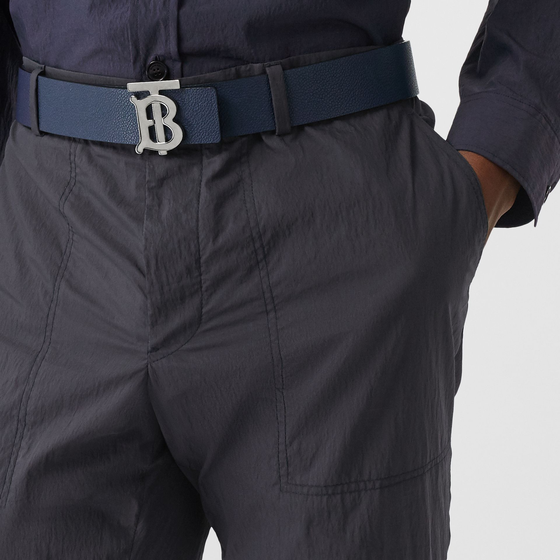 Classic Fit Cotton Blend Tailored Trousers in Navy - Men | Burberry Australia - gallery image 1