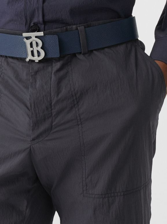 Classic Fit Cotton Blend Tailored Trousers in Navy - Men | Burberry Australia - cell image 1
