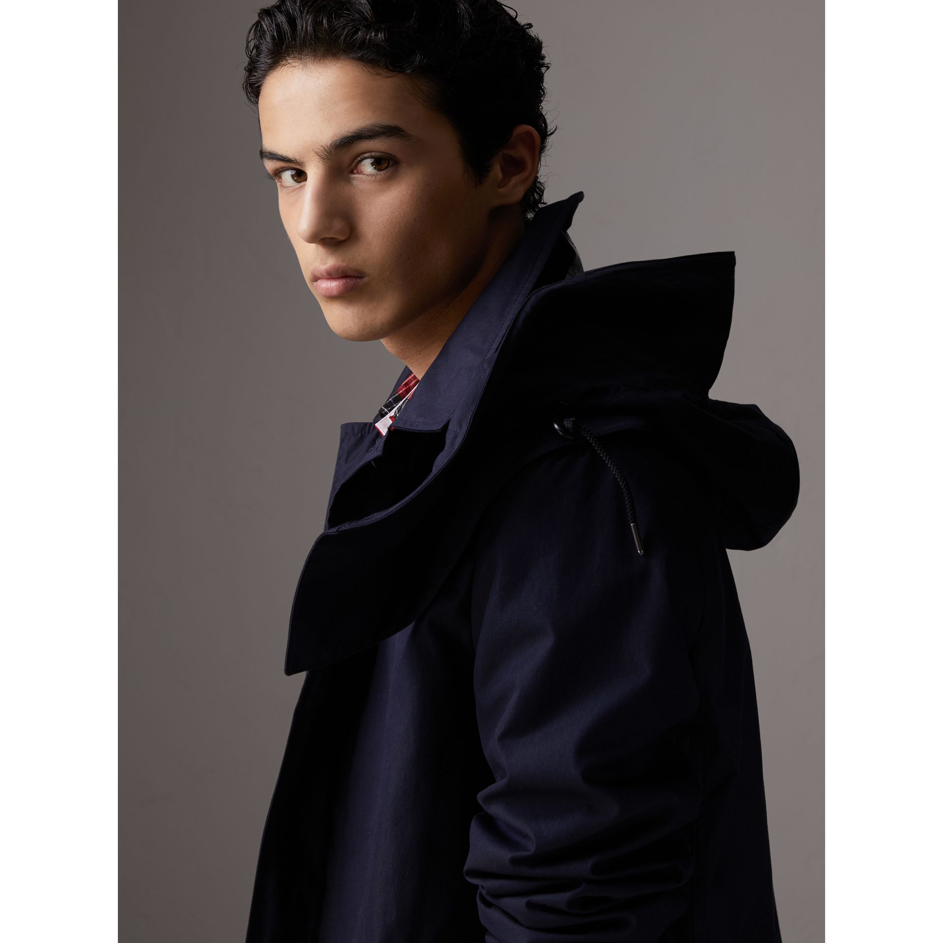 Detachable Hood Cotton Blend Car Coat with Warmer in Navy - Men | Burberry - gallery image 1