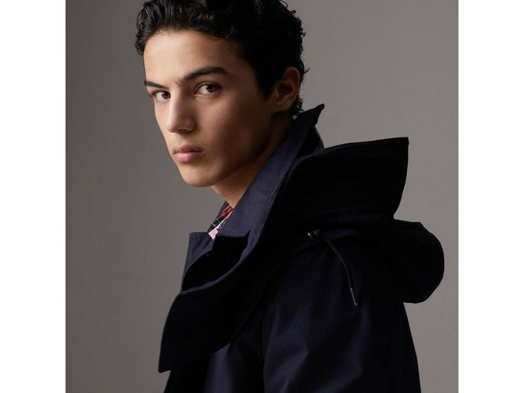 Detachable Hood Cotton Blend Car Coat with Warmer in Navy - Men | Burberry Singapore - cell image 1