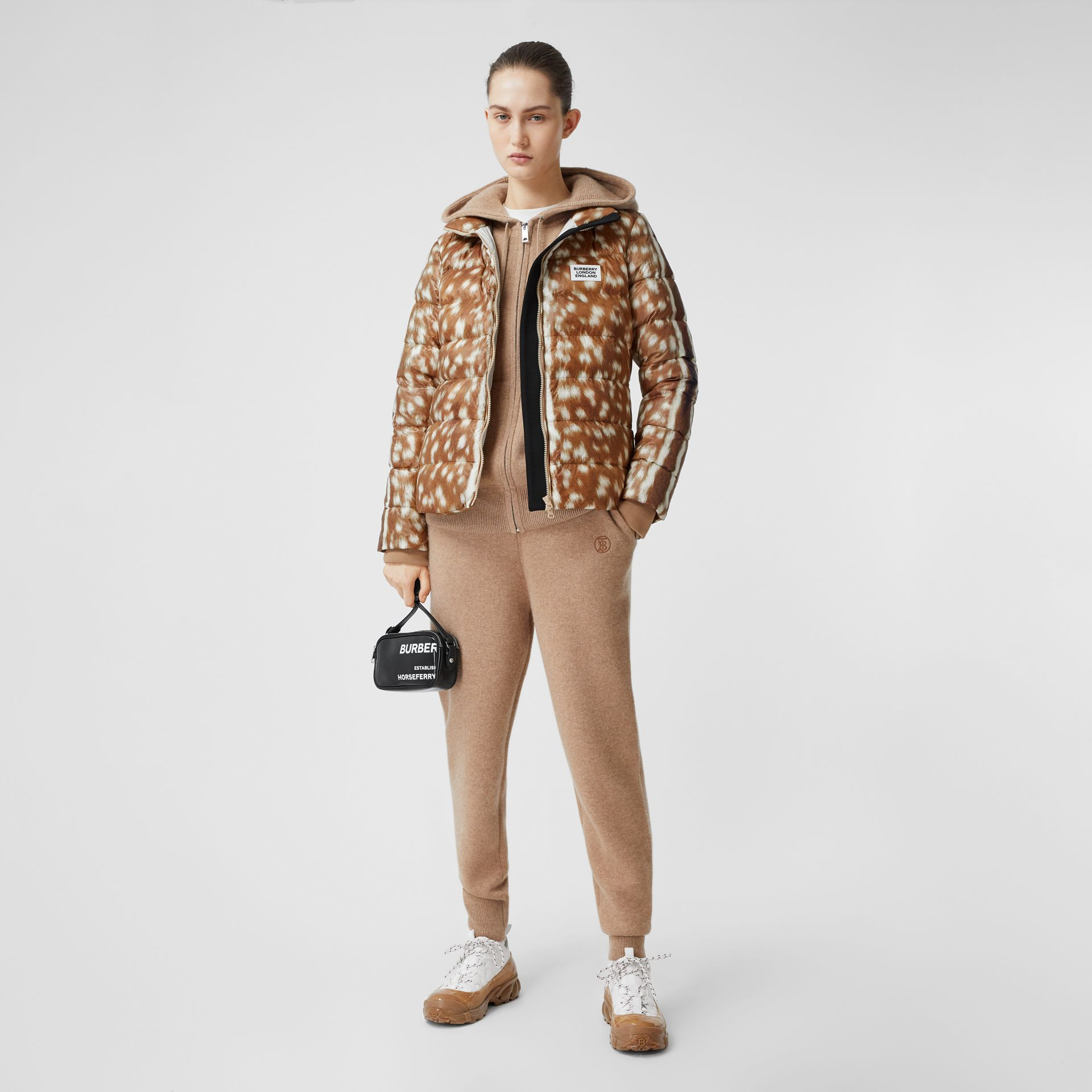 Deer Print Puffer Jacket in Honey - Women | Burberry United Kingdom - gallery image 0